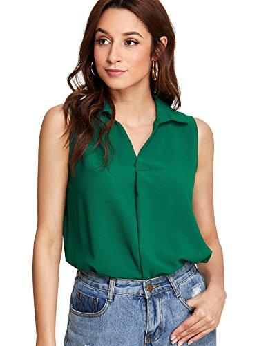 Romwe Women's Solid V Neck Collar Sleeveless Top Blouse