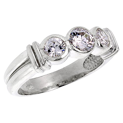 Sterling Silver Cubic Zirconia 3-Stone Ring Brilliant Cut 1/2 ct stones Bezel Set, size 8