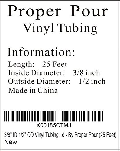 25 ft 3/8'' ID 1/2'' OD Vinyl Tubing - FDA Approved - By Proper Pour