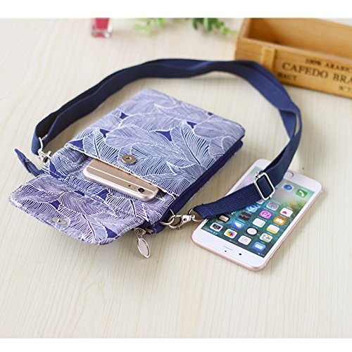 Pouch Bag Canvas Crossbody for Shoulder Small Phone Women Welegant Girls Purse Leaf Pattern Cell Navy Wallet xgwPqUv