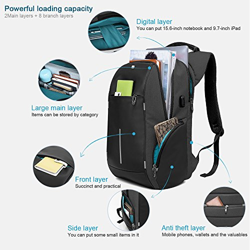 Business Laptop Backpack, HiOrange Travel Anti Theft Computer Backpack with USB Charging Port, Waterproof Night Light Reflective College school bag for Women & Men Fits 15.6 Inch Laptop and Notebook by HiOrange (Image #1)