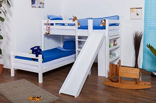 Stockbett Buche Vollholz weiß mit Regal und Rutsche, inkl. Rollrost 90x200 cm