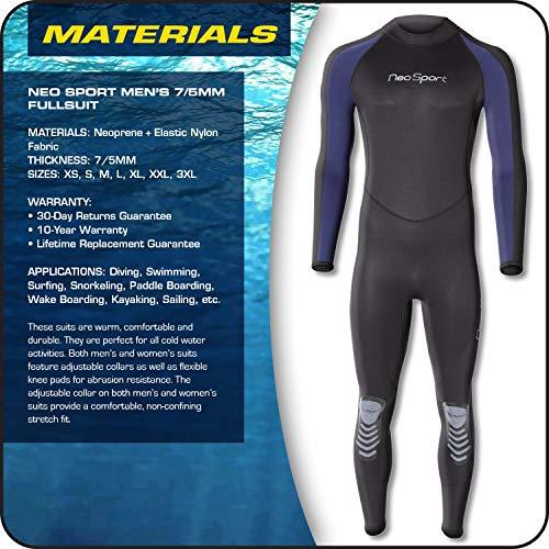 NeoSport Wetsuits Men's Premium Neoprene 7/5 mm