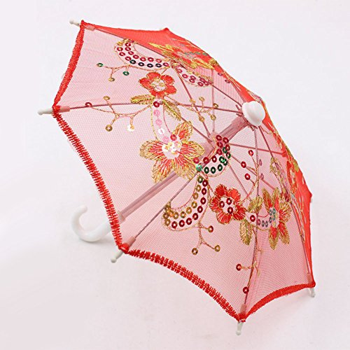 (Fashionwu Lace Sequins Umbrella for 16-18 Inch Barbie Doll Accessories Girl Gift Kids House Toy)