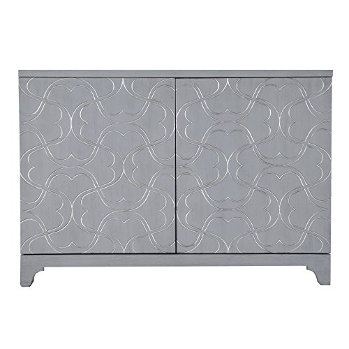 Bars Overlay - Accentrics Home Modern Influenced Two Door Accent Bar Cabinet With Ornate Overlay Carving Painted