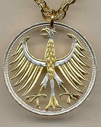 German Silver 5 Mark Eagle - Beautifully Hand Cut out & 2-toned(Uniquely Hand done) Gold on Silver coin Necklaces for women men girls girlfriend boys teen girls (Eagle Pendant Out Cut)