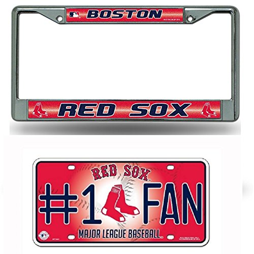 Rico Industries Boston Red Sox MLB Glitter Bling Chrome License Plate Frame & Red Sox Number One Fan License Plate ...