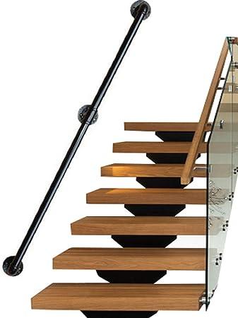 Seguridad Pasamanos para escaleras Exterior Interior Metal Negro Hierro Forjado |Las Soportes de barandillas de barandas Directamente a la Puerta de la Escalera o a la Entrada de la Bodega: Amazon.es: Hogar