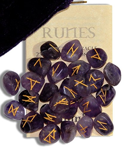 Amethyst Gemstone Runes with Engraved Lettering and Pouch