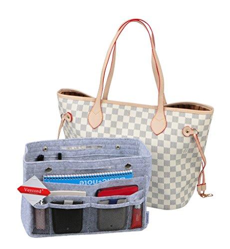 Vercord Felt Narrow Purse Tote Organizer Insert Divider Inside Handbag with Mesh Pockets for Women Light Grey (Mesh Handbag Purse)