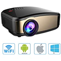 Video Projector Wifi 1080P, GOXMGO Full HD LED Home Theater Movie Projector Portable Mini Wireless Projector for iphone With HDMI USB Headphone Jack Good Home for Cinema,TV