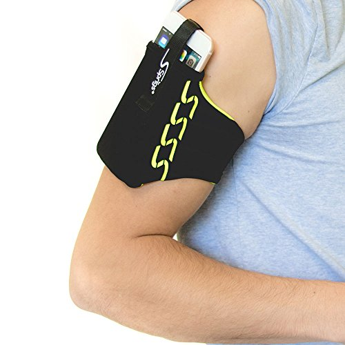 Sprigs Armband for iPhone 11/x/xr/8/7 Plus, Galaxy S10/S9, Google Pixel 4. Lightweight & Comfortable Running Armband, Stretches to Fit All Phones with Case - Black/HiViz, Large (Banjee Wrist Wallet)