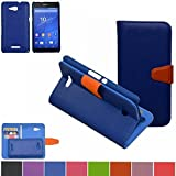 Sony Xperia E4g Case,Mama Mouth [DETACHABLE Feature] Folio Flip Hard Case [Stand View] Premium PU Leather [Wallet Case] With Built-in Media Stand ID Credit Card / Cash Slots and Inner Pocket Cover For Sony Xperia E4g E2053, Blue
