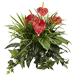 """Nearly Natural 6072-S2 24"""" Mixed Anthurium (Set of 2) Artificial Plant Red 40"""