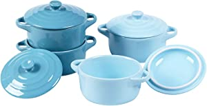 YAYEE Porcelain Ramekins, Souffle Dishes,Ceramic Baking Dishes,Soup Dishes,7 Ounce Round Mini Casserole Dish with Lid, Set of 4 - Turquoise&Baby Blue