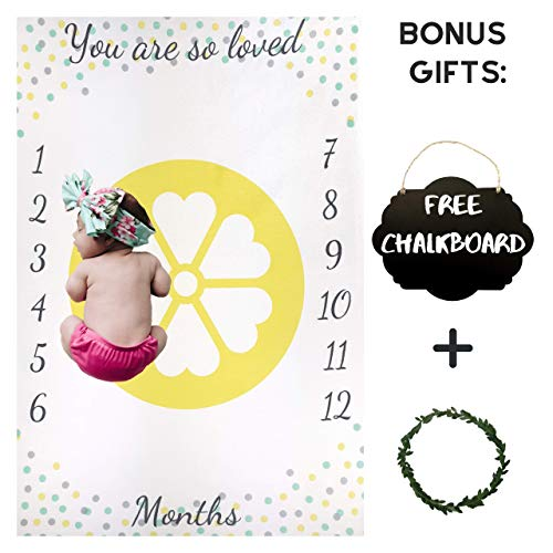 - Baby Milestone Blanket by Nakie Baby Apparel & Accessories - Monthly Blanket Photo Props for Babies - Unisex Design - Ultra-Soft Polyester Fleece Gray Yellow Mint - Includes Small Chalkboard and Chalk