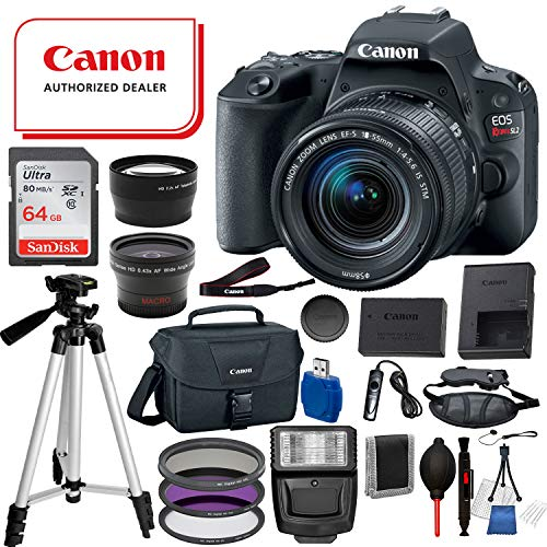Canon EOS Rebel SL2 Digital DSLR Camera with EF-S 18-55mm is STM USA (Black) 19PC Professional Bundle Package Deal –SanDisk 64gb SD Card + Canon Shoulder Bag+ More