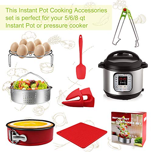 7-pcs Accessories for Instant Pot 5,6, 8 Qt, Steamer Basket, Egg Steamer Rack, Non-Stick Springform Pan, Steaming Stand, Silicone Spoonula,1 Pair Silicone Cooking Pot Mitts by Homtant by Homtant (Image #6)