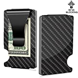 Slim Wallet Money Clip, Minimalist Carbon Fiber RFID Blocking Credit Card Holder Front Pocket Wallet Business Bank Card Holder for Men and Women