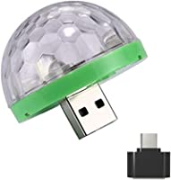 Fullfun Mini Car USB Party Light DJ LED RGB Colorful Music Sound Lamp for USB-C Phone Music Control Magic Ball (Green)
