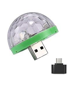 Fullfun Mini Car USB Party Light DJ LED RGB Colorful Music Sound Lamp for USB-C Phone Music Control Magic Ball (Green)