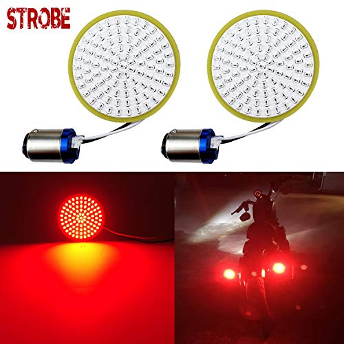 LivTee Extremely Bright Flashing Strobe Blinking Brake Stop Tail LED Lights Panel with 1157 Base Compatible with Harley Dyna Street Glide Road King