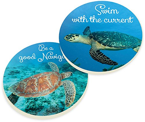 Swim with the Current Sea Turtles 2 Piece Ceramic Car Coasters Set (Car Accessories Turtle)