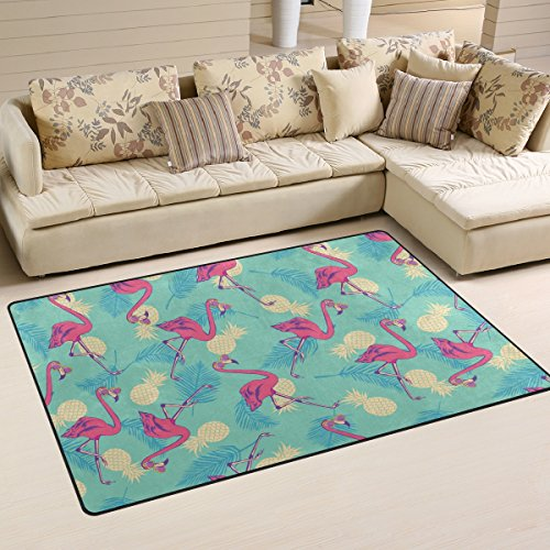 Yochoice Non-slip Area Rugs Home Decor, Vintage Pink Flamingo Pineapple Fruit Floor Mat Living Room Bedroom Carpets Doormats 60 x 39 inches