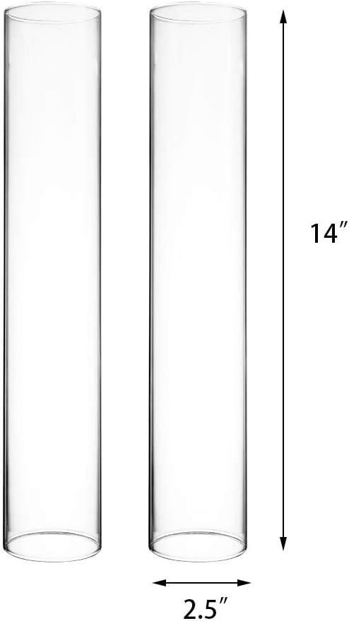 "CYS EXCEL ガラス製ハリケーンキャンドルホルダー 6個パック 卓上保護デコレーション 煙突チューブ ガラスシリンダー両端オープンエンドハリケーン キャンドルシェード 2.5"" wide x 14"" tall B019HTZ7D4"