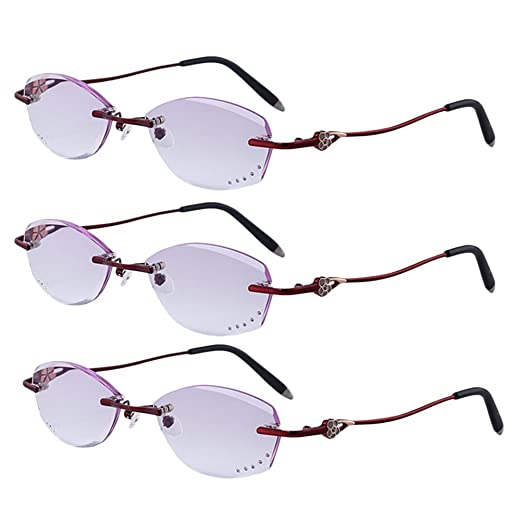 Zhhlaixing 3-Pack Occhiali da Lettura per Leggere Donna Fashion Gradient Color Fatigue-free Rimless Ladies Reading Glasses 1.00 2.00 2.50 for Women uvC9flJVW