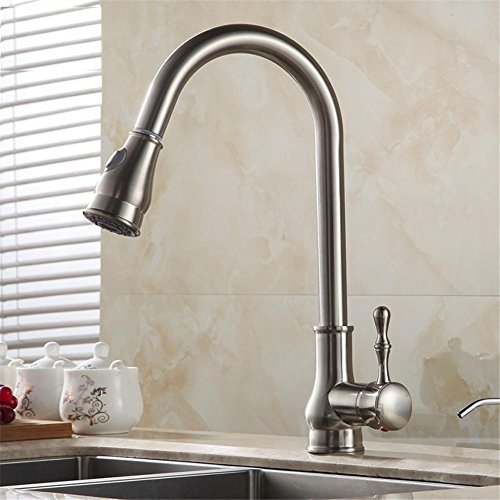 HomJo Brushed Nickel Pull Out Kitchen Faucet Sink Mixer Tap Swivel Spout, 1 (Gooseneck Nozzle Deck Faucet Mount)