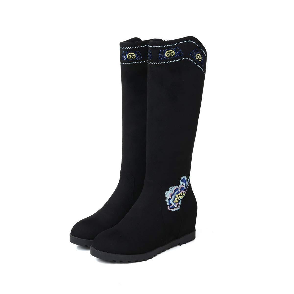 2018年女性用ブーツウエッジヒールエスニック刺繍カーフブーツ秋冬ウォームクラシック隠されたヒールブーツブラック,黒,39EU 黒 39EU