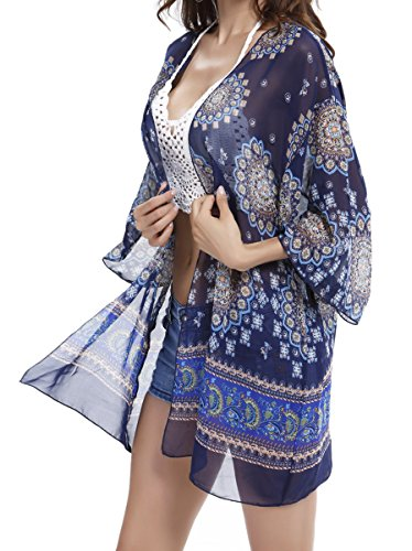 GeLivable Women's Floral Print Chiffon Shawl Kimono Cardigans Blouse Cover Ups for Swimwear Women,Blue (Long Jacket Skirt Suit)
