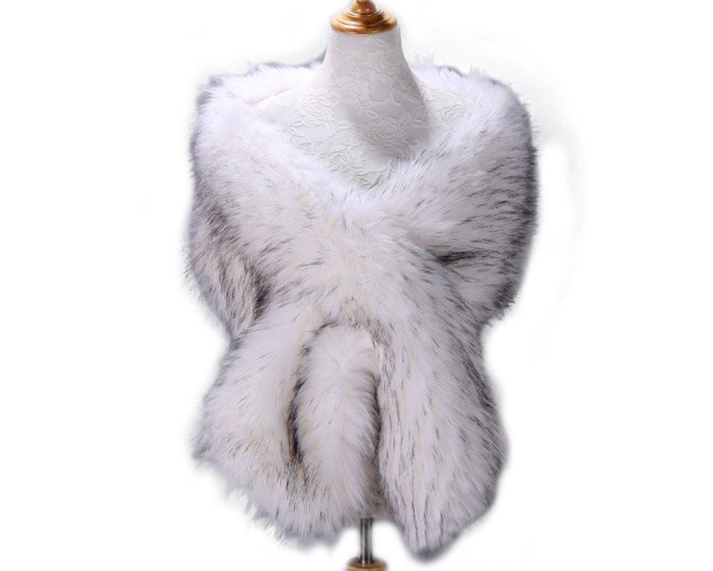 Kevins Bridal Women's Faux Fur Shawl Wraps Cloak Coat Sweater Cape for Evening Party White/Black