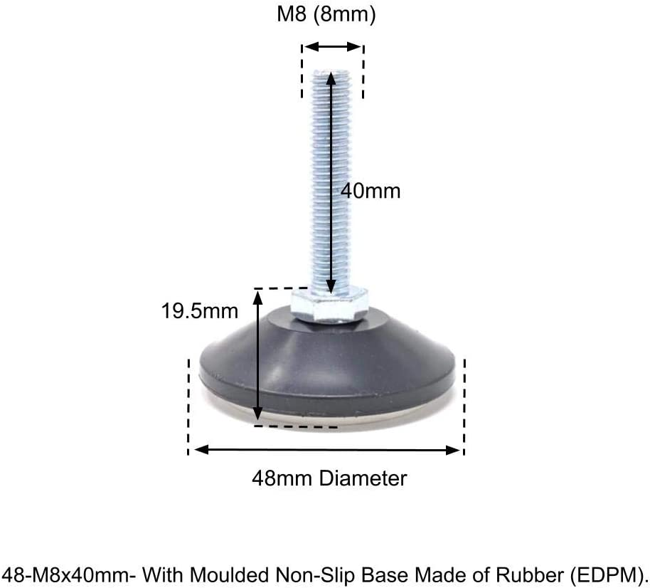Screw in Levelling Machine Feet Height Adjustable with Tilting Base Made in Germany 48mm Diameter, M10, 30mm, Pack of 4