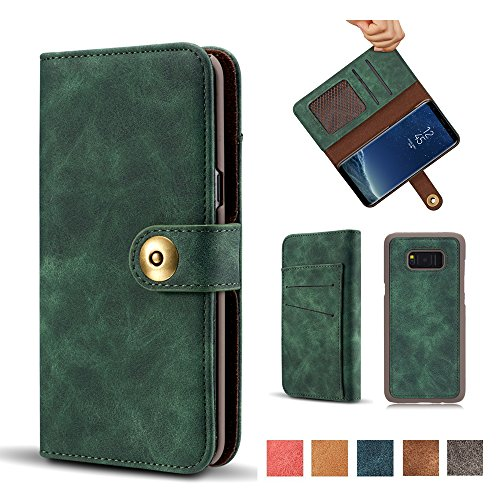 Galaxy Note 8 Case, Vintage 2 in 1 Magnetic Detachable Flip Folio Wallet Suede PU Leather Case Removable Retro 4 Card Slots Retro Protective Phone Bag Cover with Card Holder - Green (Case Suede Folio)