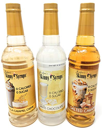 Sugar Free Flavored Syrups - Jordans Skinny Syrups Sugar Free Trio - White Chocolate, Vanilla Caramel Creme, Salted Caramel 25.4 oz. - Gluten Free - Kosher - Made in the USA - 3 Bottle Bundle