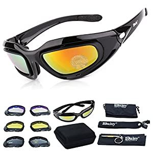 Tactical Glasses,Lefox Cycling Glases CS Game Tactical Protective Glasses Dust-proof Protective Military Sunglasses with 4 Replaceable Lenses (Black)