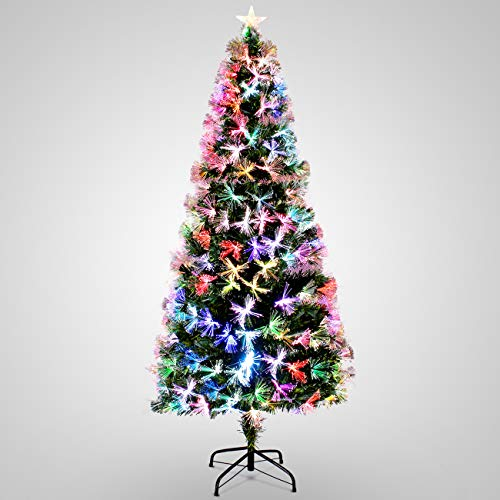 Belleze 6FT Artificial Christmas Tree Pre-Lit Fiber Optic Red Snowflakes Light Top Star Decorations w/Stand