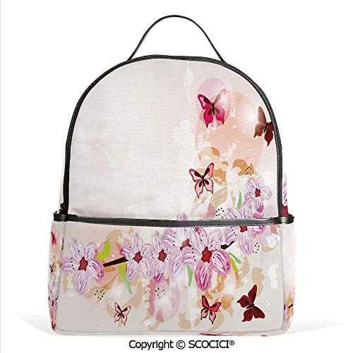 - All Over Printed Backpack Artistic Spring Flower Arrangement with Cute Little Butterflies Wildflowers on Branch Decorative,Multicolor,For Girls Cute Elementary School Bookbags