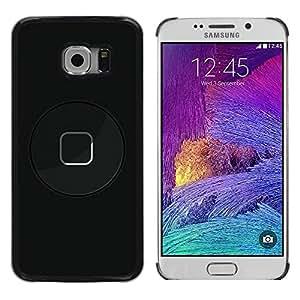 TopCaseStore / la caja del caucho duro de la cubierta de protección de la piel - Modern Art Button Power Black - Samsung Galaxy S6 EDGE SM-G925