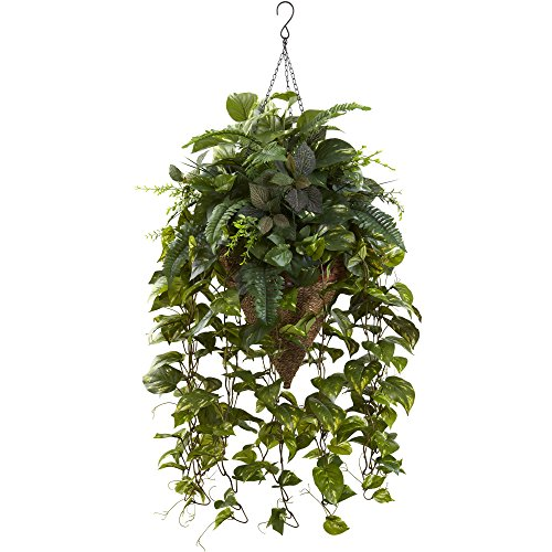 Nearly Natural Vining Mixed Greens with Cone Hanging Basket