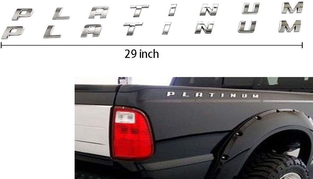 Chrome 2pcs King Ranch F-350 Emblems 3D Badges Door S Tailgate Sticker Decals Replacement for F350