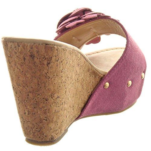 Sopily - damen Mode Schuhe Sandalen Plateauschuhe Blumen Nieten - besetzt - Rosa