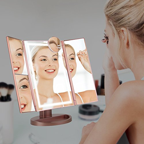 Lighted Makeup Mirror, Light Up LED Vanity Mirrors with 10x/3x/2x Magnifying, USB/Battery Dual Electric Power,Brightness Touch Adjustable, Tabletop Trifold Cosmetic Mirror Brighter(22 Bulbs) by NEW VIEW (Image #4)