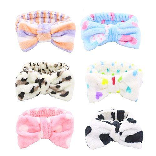 - Bow Hair Band, Soft Carol Fleece Hairlace Headband Turban Bowknot Bow Makeup Shower Headbands Headwraps for Washing Face Shower Spa Mask, Multiple Styles, 6PCS