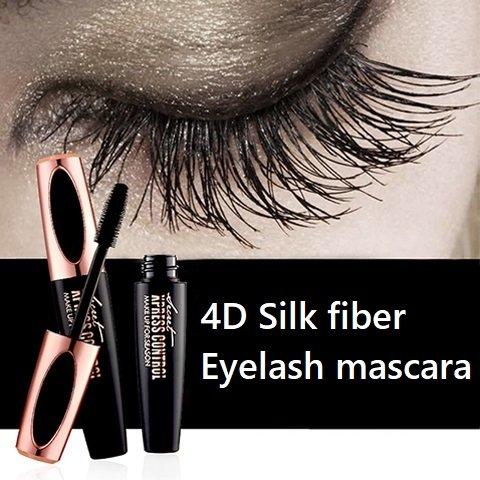 4D Silk Fiber Eyelash Mascara Cream, Premium Black Waterproof Eyelash Extension Newest Eye Makeup cosmetic