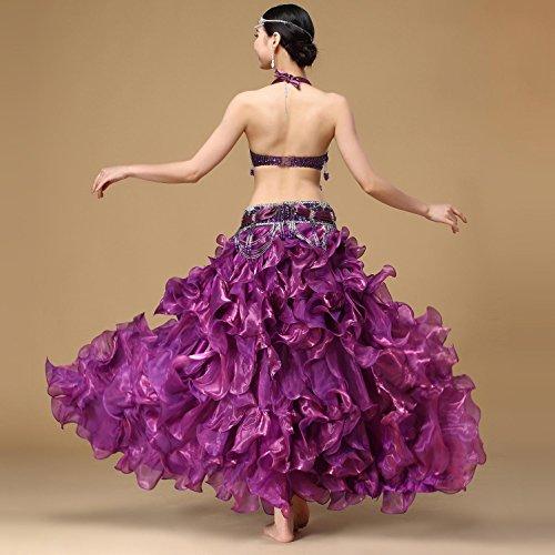 falda Glitter lado Pearl del para Aaa brillante ropa vientre Sujetador con Conjunto mujeres Swing dividida danza Moliyanzi de baile de Ropa de para Purple 4nEA5AZOx