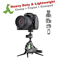 TAKEWAY T1 PLUS Clampod. T1 PLUS=T1+G1, Travel portable tripod with Min capacity loading 6.6lbs/3kg, selfie sticks, DSLR stand support.