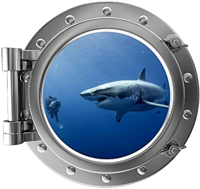"""12"""" PortScape Instant Sea Window Shark #5 Porthole Wall Graphic Decal Sticker Mural Home Kids Game Room Art Decor NEW !!"""